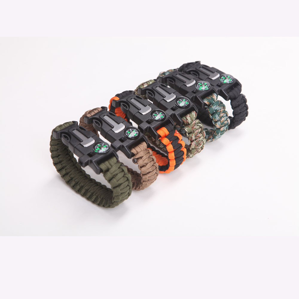 Military Emergency Paracord Bracelet Survival Parachute no flint Outdoor Scraper Whistle buckle For Jewelry Men & Women