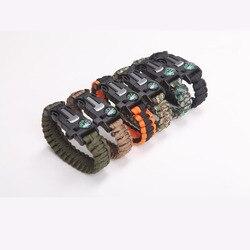 Raspador de Multi-função De Emergência Militar Paracord Pulseira Sobrevivência Ao Ar Livre Apito fivela pulseira de survie