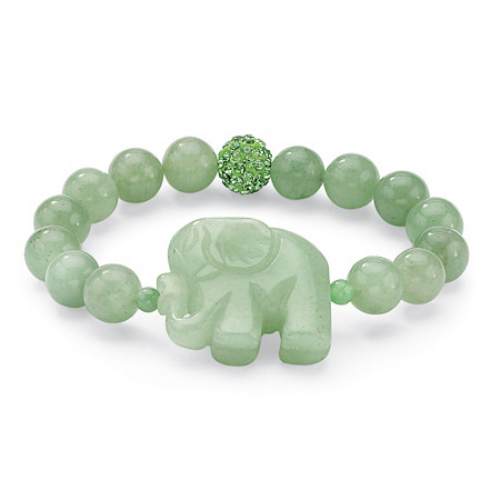 Palmbeach Jewelry 52710 Green Colored Stone Elephant And Crystal Beaded Stretch Bracelet 8'' elephant faux gem beaded ring