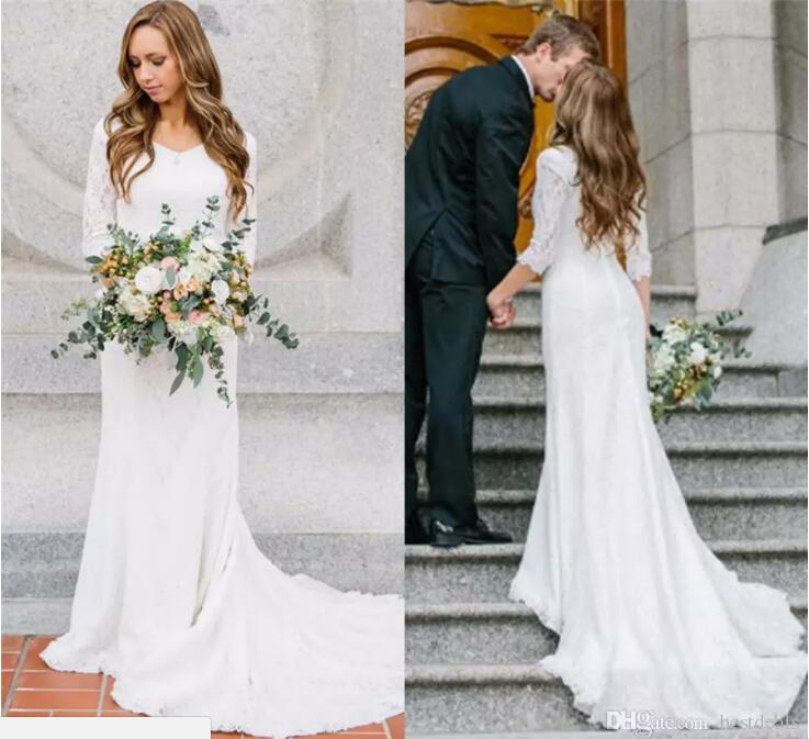 Vintage Modest Wedding Dresses With Long Sleeves Bohemian Lace Chiffon Wedding Gowns 2017 kurti jordans Country Wedding Dress