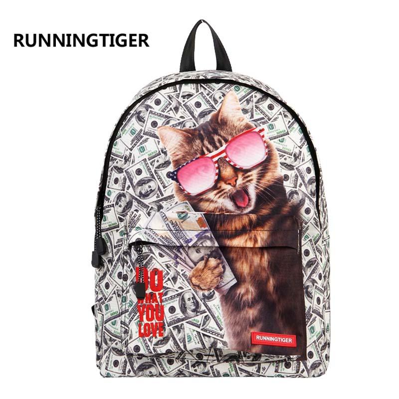 RUNNINGTIGER 3D Animal Printing Backpack Women School Bags female Canvas mochila school bags for teenagers travel