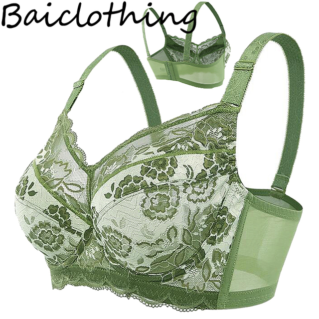 0b67a1968d368 Baiclothing Plus size Thin sexy Bra Full Coverage Non-padded Underwire Bra  Lace lingerie 38 40 42 44 46 48 C D E F G H Drop Ship