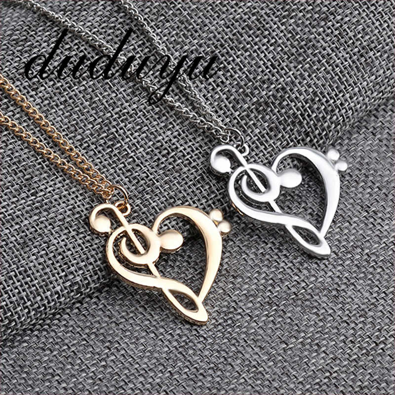 Stainless Steel Music Note Heart of Treble and Bass Clef Necklace Women Infinity Love Charm Pendant Female Necklace Jewelry Gift