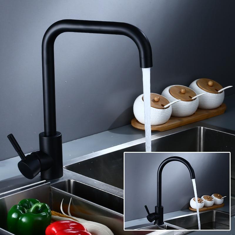 Tuqiu Kitchen Faucet Swivel Staubkess Steel Sink Faucet Rotating Bathroom Faucet Sink Basin Mixer Tap Black/White Sink Tap