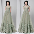 Gorgeous Appliques Beaded Evening Dresses Long 2017 Matcha See-Through Evening Gown robe de soiree	abendkleider Maxi Formal Gown