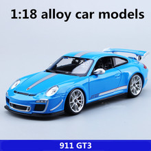 1 18 alloy car models high simulation 911 GT3 sports car metal diecasts freewheeling the children