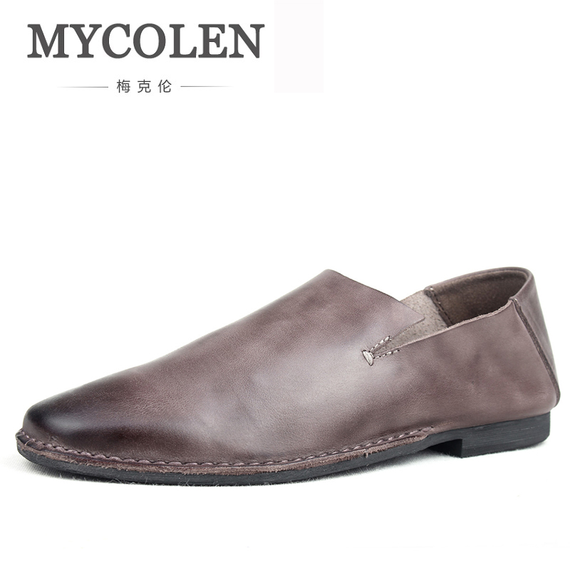 MYCOLEN Men Casual Shoes Leather Slip on Spring Autumn Male Soft Loafers Shoes Comfortable Outdoor Man Moccasins Flats Shoes lumion бра lumion ponso 3408 1w