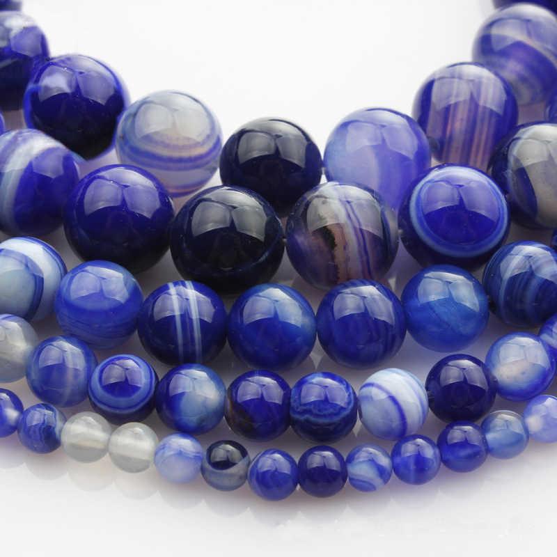 כחול פס אוניקס Agat אבן טבעית חרוזים עבור תכשיטי ביצוע Diy צמיד שרשרת 4/6/8/10 /12mm סיטונאי גדיל 15 ''HK179