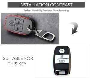 Image 2 - VCiiC Leather Car Key Cover Case For Kia Ceed Rio Sportage R K3 K4 K5 Ceed Sorento Cerato Optima 2015 2016 2017 2018 Key Case