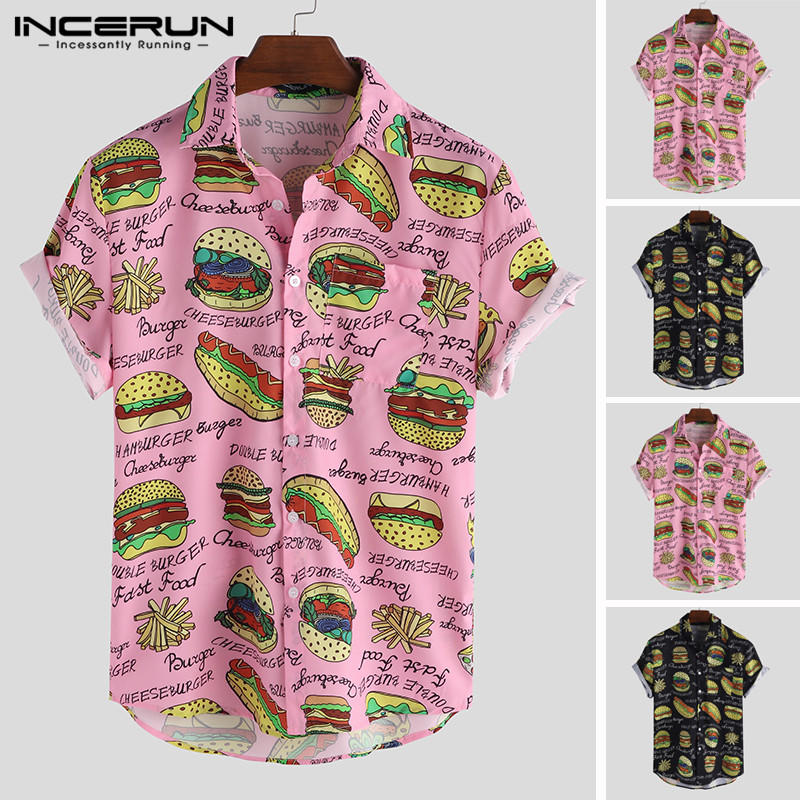 INCERUN Men Shirt Printing Lapel Neck Short Sleeve Casual Camisa Masculina Streetwear Personality Chic Hawaiian Shirts Men 2020