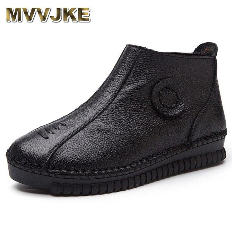 Damenstiefel Frauen Schuhe Pflichtbewusst Mvvjke Plus Größe 35-43 Vintage Echtem Leder Frauen Stiefel Winter Warm Schnee Stiefel Frauen Flache Stiefeletten Zip Casual Schuhe