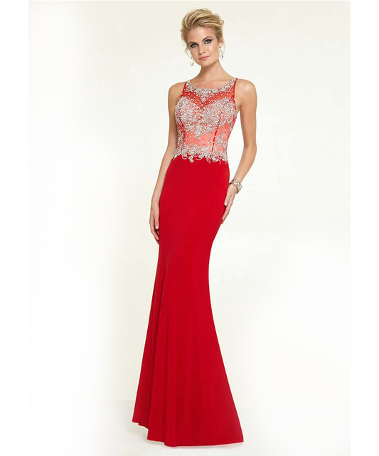 Red Black White Long Mermaid Style Prom Dress Shiny Crystals Beaded ...