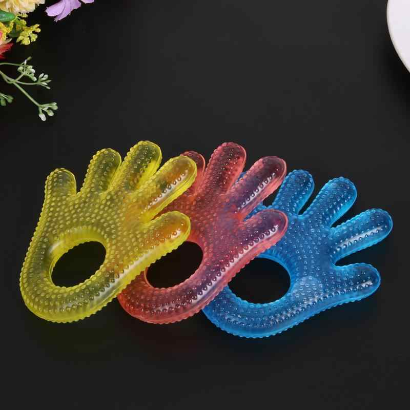 Silicone Baby Teethers Water Filled Plam Shape Kids Teether Safety Children Teething Care Baby Hand Shape Dental Care Food Feed
