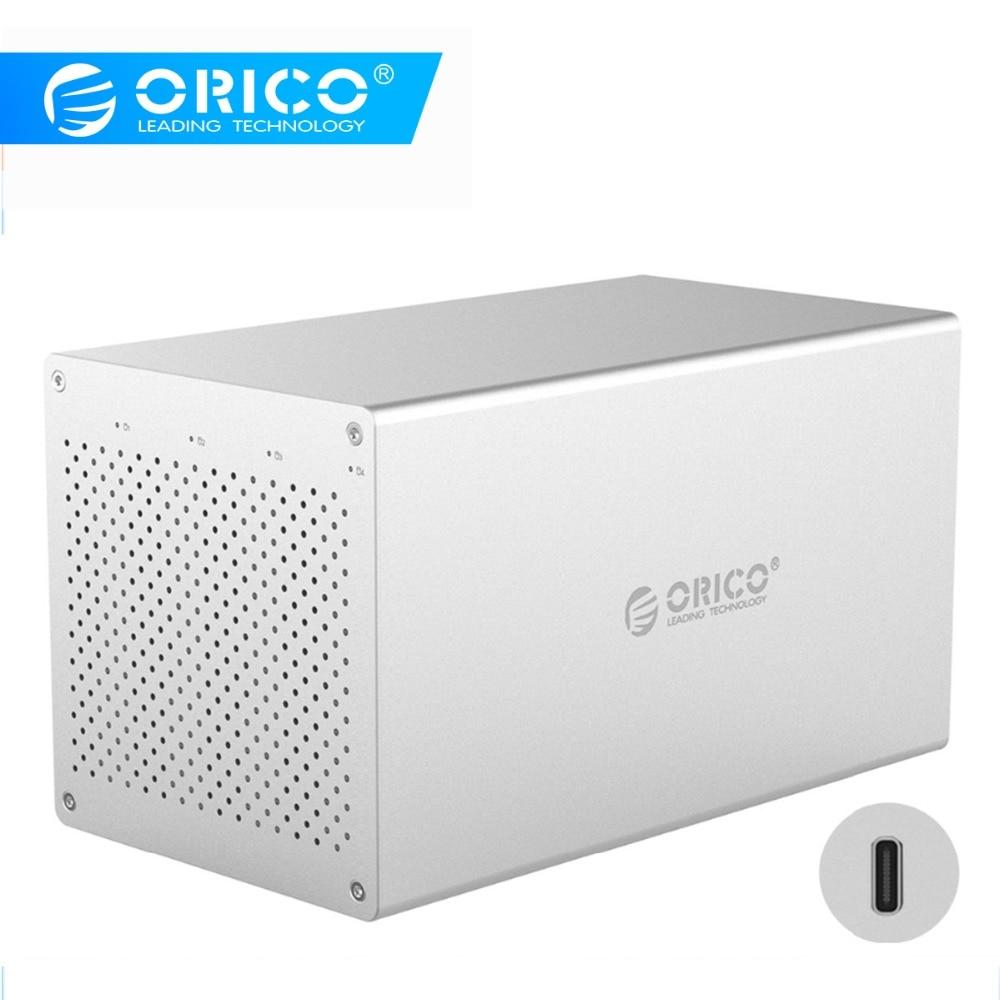 ORICO 4 Bay Type-C 3.5''Hard Drive Enclosure With Raid SATA To USB C HDD Docking Station Support 40TB RAID0/1/3/5/10/JBOD/Clear