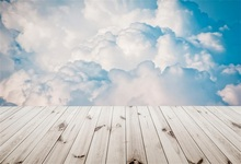 Laeacco Blue Sky Clouds Wooden Floor Baby Newborn Photography Backgrounds Customized Photographic Backdrops For Photo Studio
