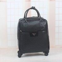 High quality 17inch female black crocodile pattern pu leather travel duffle,large capacity women travel luggage bags on wheels