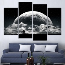 Modern Unframed 4 Panels Canvas Paintings Running Horse Wall Art Pictures For Living Room piece canvas art