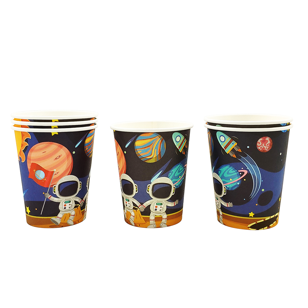 Image 4 - Party supplies 48pcs Astronaut Solar Space party kids birthday party tableware 24pc dessert plates dishes and 24pc cups glasses-in Disposable Party Tableware from Home & Garden