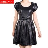 Plus size Fashion women high quality Sheepskin round neck Puff sleeves bow waist A Line pleated black genuine leather dress 5XL