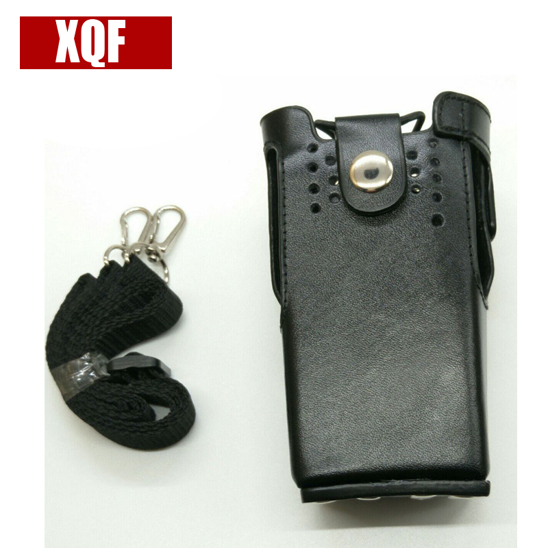 XQF Leather Case Shoulder Holder Bag For Motorola Gp328,gp340,gp380,gp3188,ep450,ht750 Etc Walkie Talkie Black Color