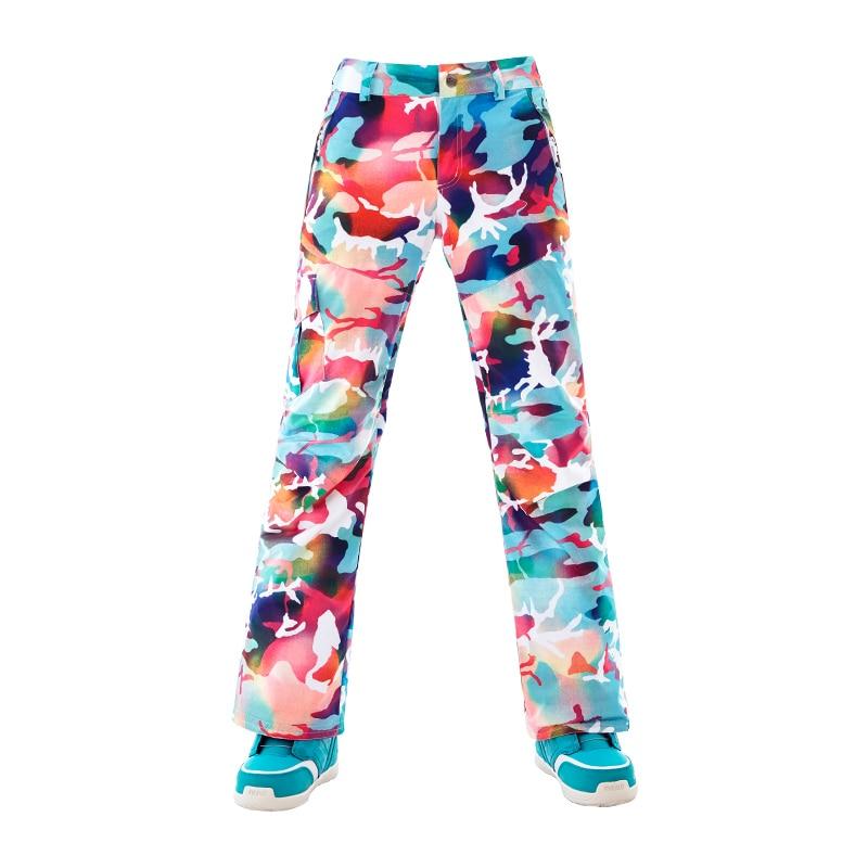 GS cool coloré ski pantalon femmes sports d'hiver snowboard pantalons de neige chaud ski pantalon pantalones esqui pantalon de ski femme