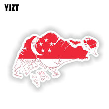 YJZT-pegatina de bandera de Singapur para carrocería de motocicleta, mapa de personalidad, 15CM x 9,8 CM, 6-1611