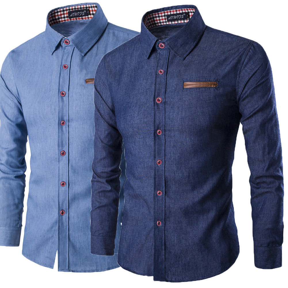 Jeans Shirts Slim-Fit Long-Sleeves Smart Casual Fashion Denim Stylish Men's Wash