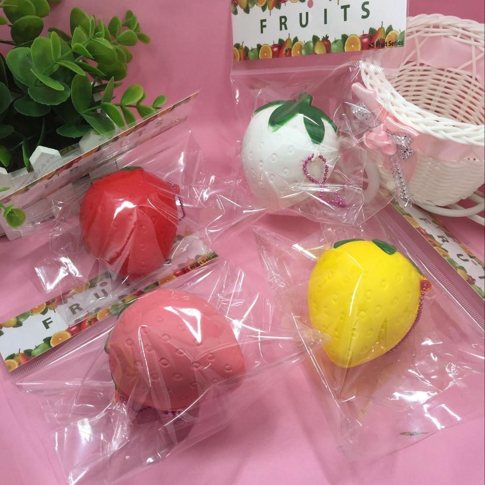 1Pcs ΝΕΟ Πακέτο 7CM Χαριτωμένο Cartoon Φρούτα Φράουλα Αργά Ανερχόμενα Squishy Παιχνίδια Cell Phone Charm Αξεσουάρ Squishies Charm Retail