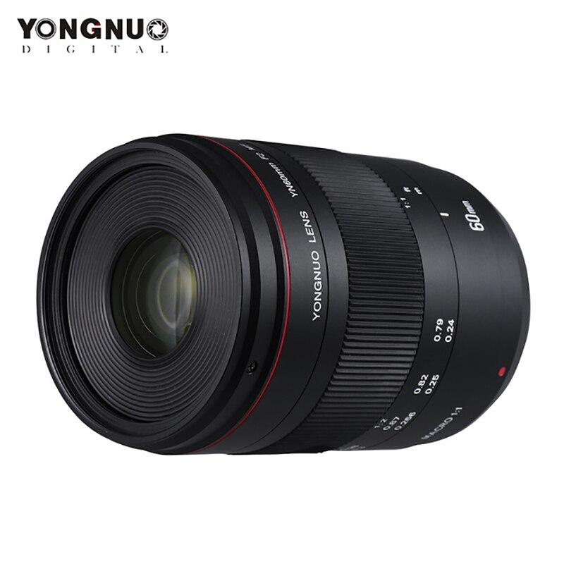 Yongnuo YN60mm F2 MF Macro Objectif Pour Canon EOS 70D 5D2 5D3 600D DSLR Caméras 60mm 0.234 m Macro lentilles Mise Au Point Manuelle
