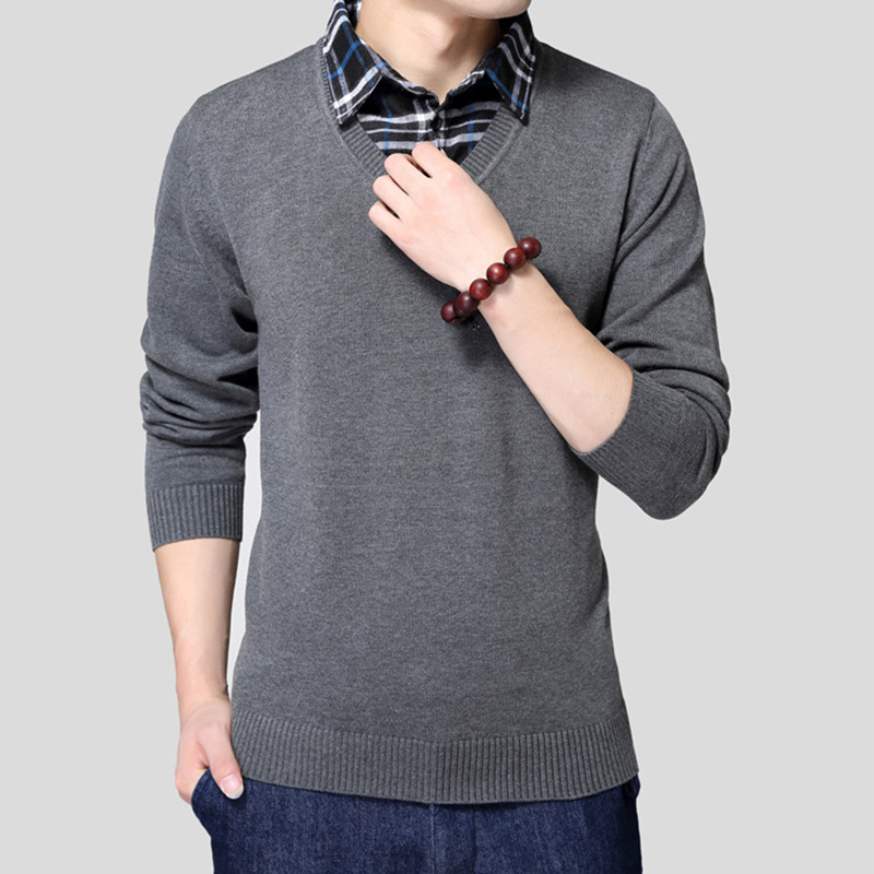 2fb0888c18e5a New winter 2017 Men sweater Fake two pieces pullover men cotton sweater  Slim Fit men polo sweaters casual Knitted yw052-in Pullovers from Men s  Clothing on ...