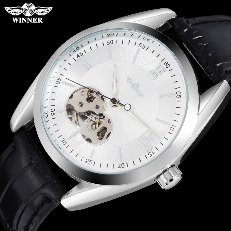 f68c829b2805 Twinner moda hombres relojes mecánicos correa de cuero casual marca hombres  automático esqueleto plata relojes Relogio Masculino