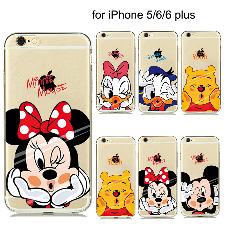 ULTRA Slim Fitting Skin Soft Clear Rubber Silicone Case Fundas For iphone5s 6 6 Plus Mickey Minnie Mouse Donald Daisy Duck Cover