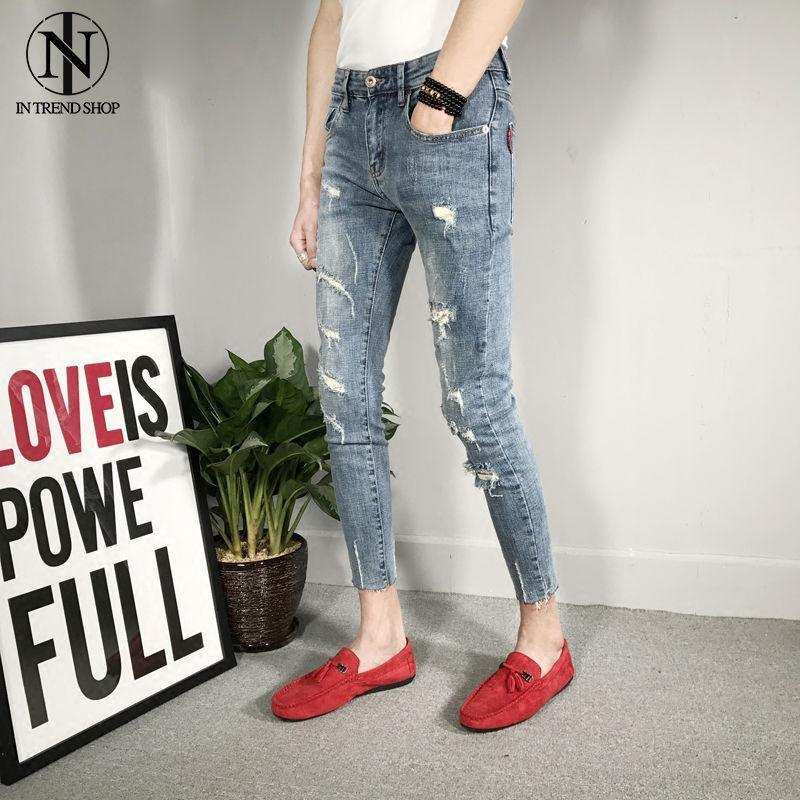 Autumn New Type Hollow Light-coloured Nine-cent Jeans, Men's Reds,Spiritual Boys And Social People's Trousers