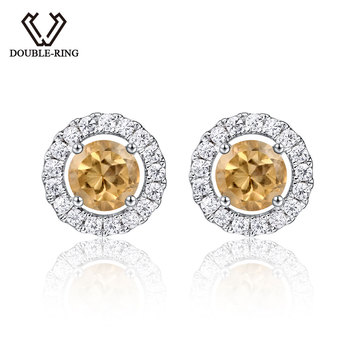 DOUBLE-R 0.86ct Natural Citrine Gemstone 925 Silver Sterling Stud Earrings For Women
