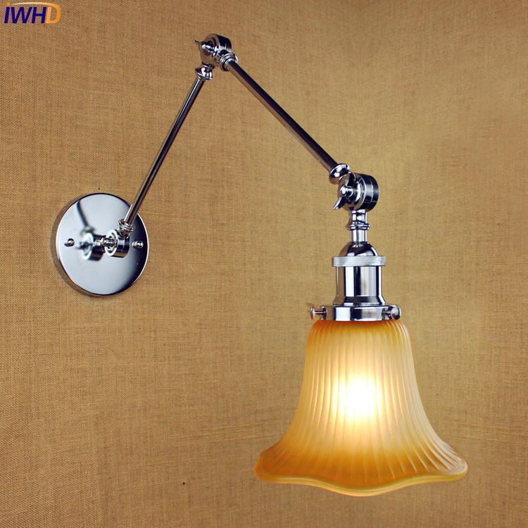 IWHD Antique Glass LED Edison Wall Light Fixtures Bathroom Industrial Swing Long Arm Wall Lamp Vintage Loft Aplik Lampa недорого