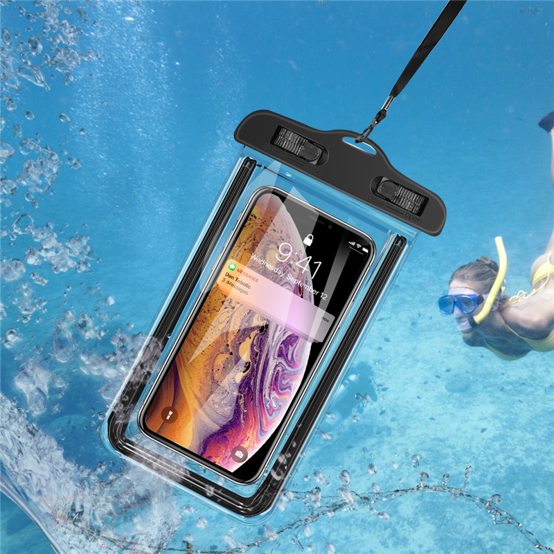 Luminous Waterproof Mobile Phone Case Clear PVC Sealed Underwater Cell Smart Phone Swimming Pouch Cover Airbag Floating Bags Hot