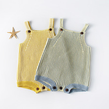 Everweekend Sweet Baby Girls Stripes Candy Cotton Crochet Rompers Halter Blue Yellow Color Infant Toddler Clothes