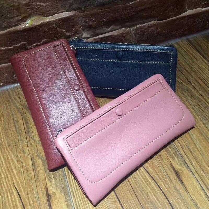 Véritable cuir classique mode en peau de mouton femmes portefeuilles Zipper & hasp longue couleur pure dame mince sac à main femal avec poche à monnaie