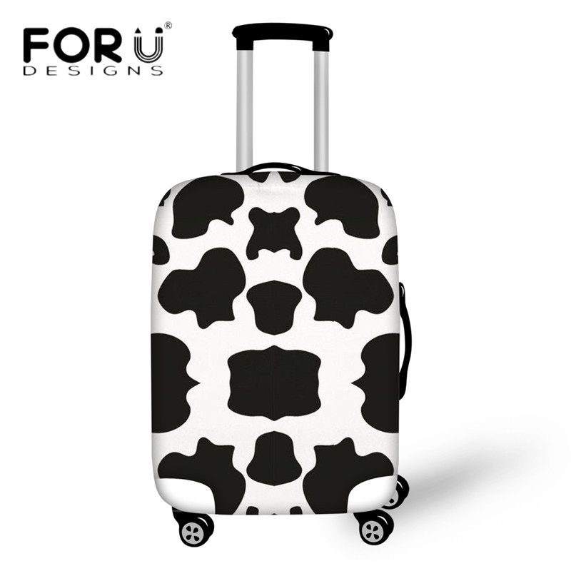 FORUDESIGNS Luggage Protective Covers Cute Cow Lover Pattern Trolley Case Cover For 18-30 Inch Suitcase Travel Bag Organizers