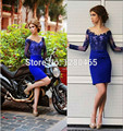 Royal Blue Short Prom Dress Cocktail Dress Women Long Sleeves Party Dress sexy Lace Appliques Vestidos de Festa