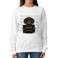 Babaseal Dachshund Police Mugshot Kawaii Printed Sweatshirt Cute King And Queen Couple Hoodie Crewneck Best Friends Sweatshirts
