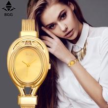 BGG бренд Для женщин стали платье часы женские Роскошные Простой Повседневное кварцевые часы Relogio feminino женские серебряные часы подарок