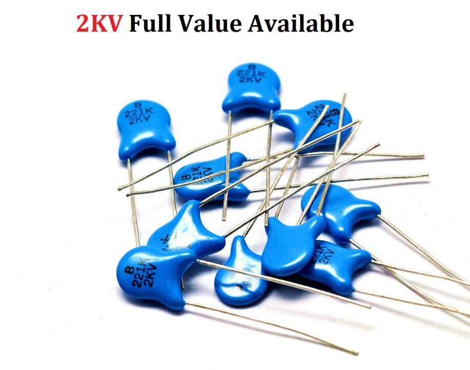 20 pcs 220pF  63V ±10 /% Ceramic Disc Capacitor NOS