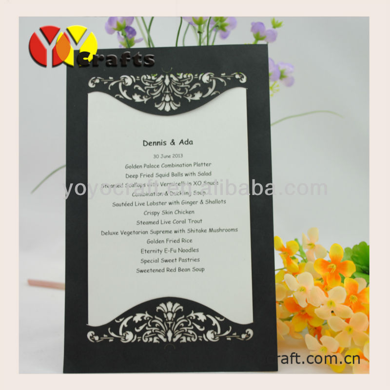 Hot Sell Laser Cut Paper In Various Color And Size Customizable Unique Table  Menu Card(