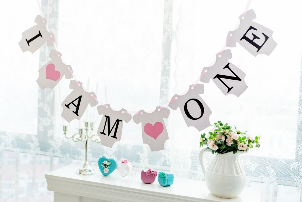 Buy new arrival 1 x i am one banners kids for 1st birthday girl decoration