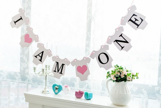 New Arrival 1 X I Am One Banners Kids Baby BoyGirl 1ST Birthday
