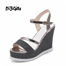 98b3520ad7c16 high heels sandals women fashion glitter platform wedges summer shoes open  toe ankle strap footwear black