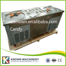 Free ship pan fried ice cream roll machine with Salad Fruits Workbench 6pcs Tanks Cooling