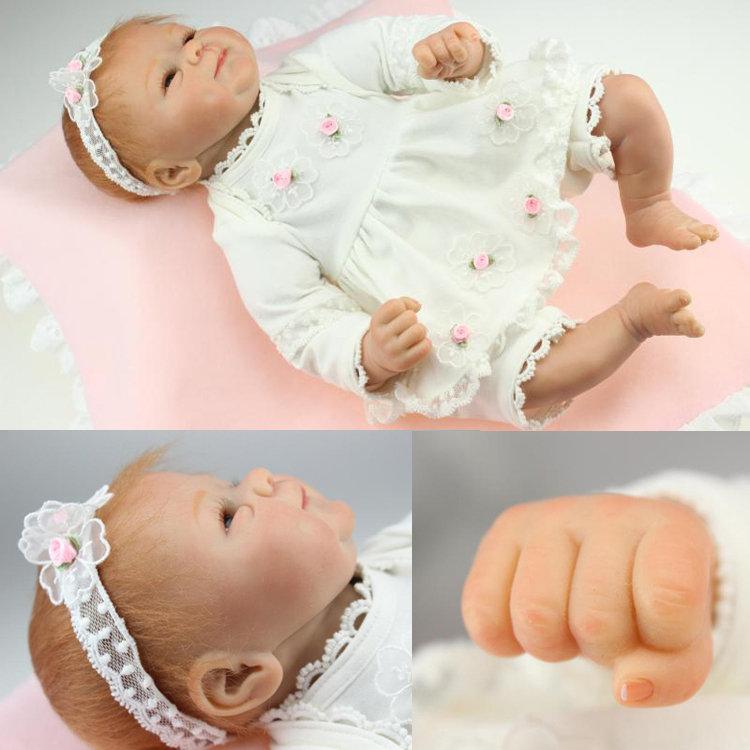18 inch 45cm Quality Silicone Reborn babies cute Collection Silicone lifelike baby doll for girl birthday gift
