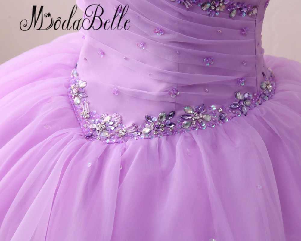 Modabelle lavanda/roxo vestido de baile quinceanera vestidos frisados strass babados vestidos para 15 anos schoolfeest jurk 2017